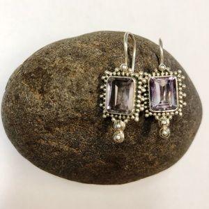 Jewelry - Vintage sterling silver & purple glass earrings.